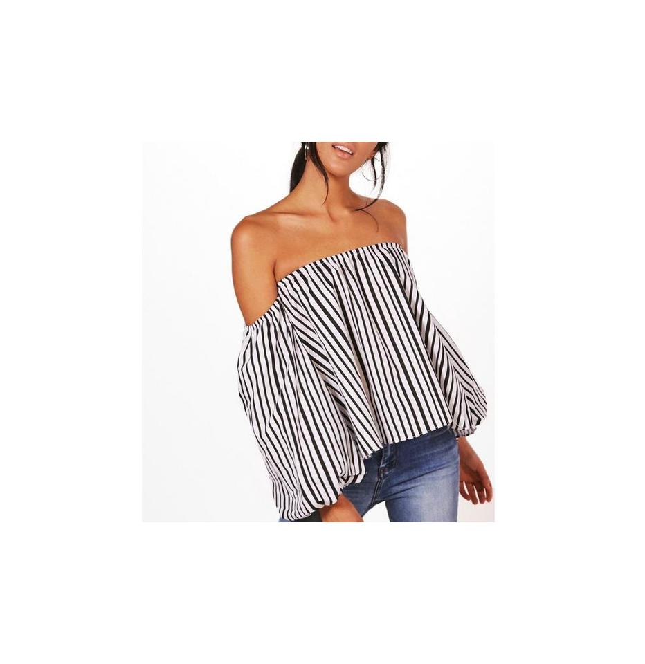 deb2b670b2cc Black White Olivia Off Shoulder Stripe Us Blouse Size 6 (S) - Tradesy