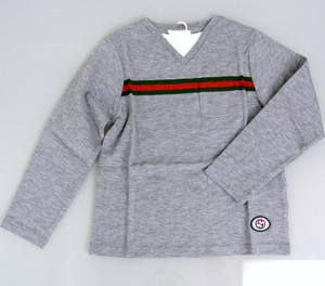 Gucci Gray W Kids' Long Sleeve T-shirt Top W/Grg Web Interlocking G 4 271373 Shirt