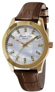 Kenneth Cole KCW2021 Women's Brown Leather Band With Mother Of Pearl Dial