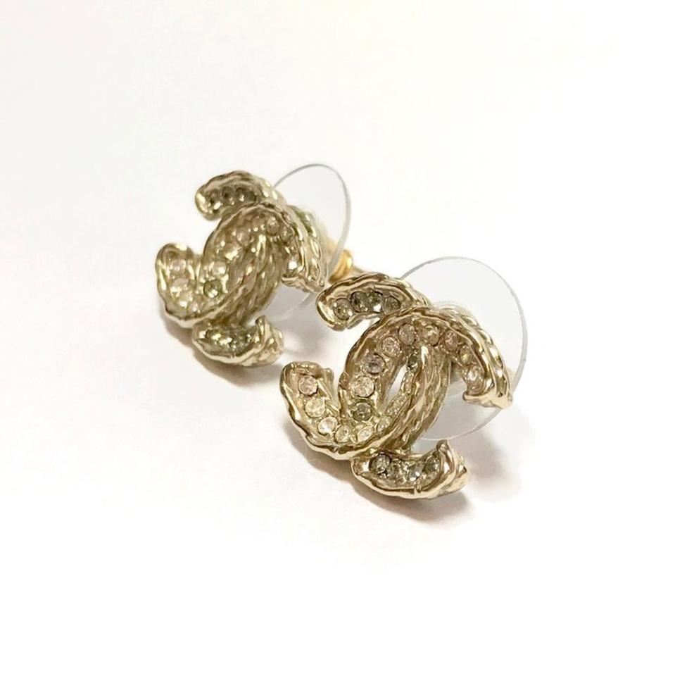 Chanel Gold Grey White Pierced Studs Logo And Clear
