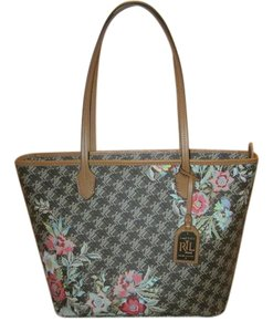 Ralph Lauren Ashley Dobson Floral Tote in Brown