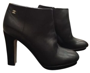 Chanel 14b Leather Suede Heel Platform Short Ankle Black Boots