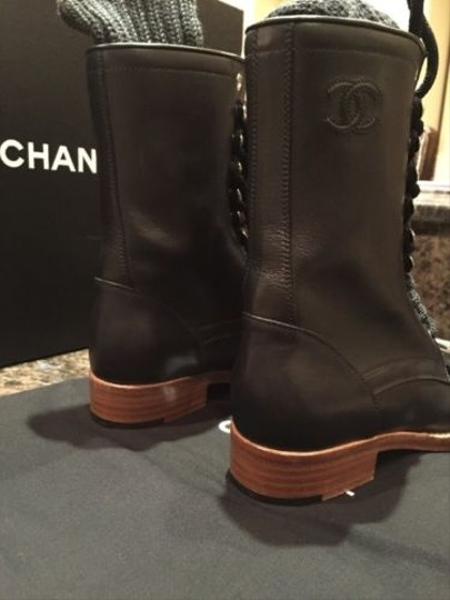 Chanel Leather Combat Sock Black Boots
