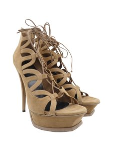 Saint Laurent Suede Booties Open Toe Lace Up taupe Sandals