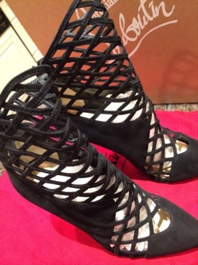 Christian Louboutin Mrs Bouglione Suede Heel Black Boots