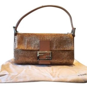 Fendi Baguette Nude Sequins Handbag Clutch Shoulder Bag