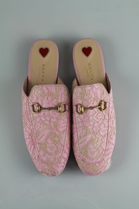 GUCCI Lace Princetown Loafer PINK Flats