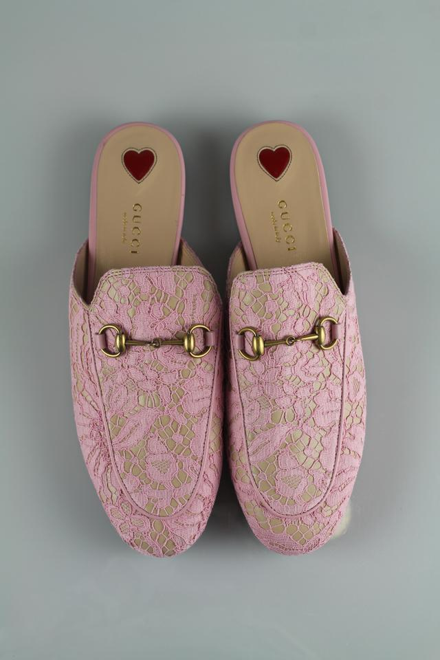 3895d9c83a7 Gucci Pink Lace Princetown Loafers Flats Size US 8 Regular (M
