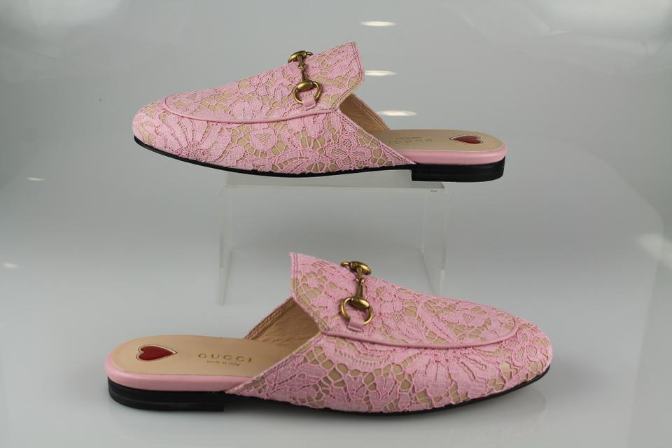 b1cf8f7462 Gucci Pink Lace Princetown Loafers Flats Size US 8 Regular (M, B) 15% off  retail