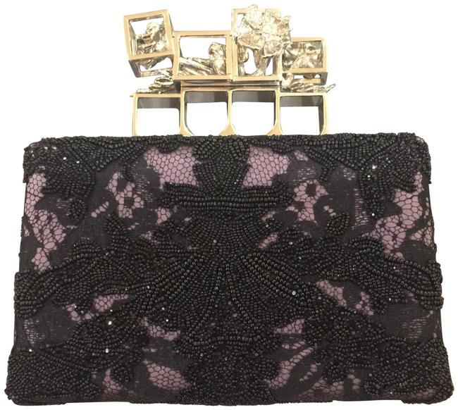 Item - Embroidered Silk Poppy Cage Knuckle Black and Purple Clutch