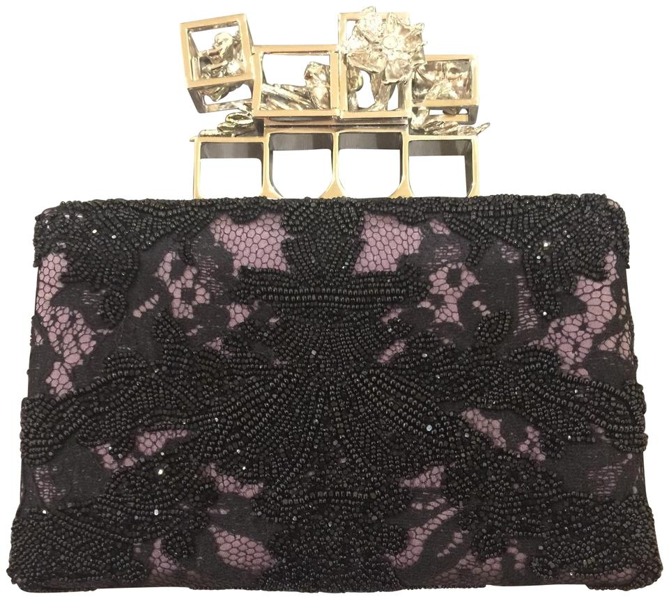 Alexander McQueen Embroidered Silk Poppy Cage Knuckle Black and ... 8fb65575e9539