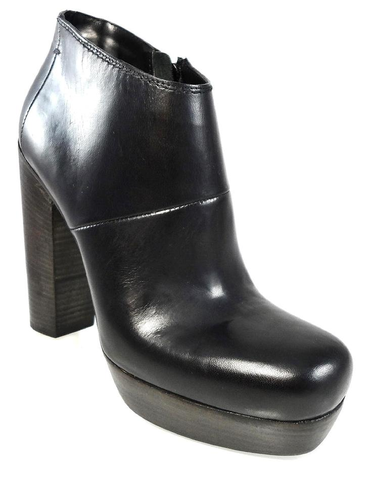 78363300cdfc CoSTUME NATIONAL Black Leather Ankle Platform Chunky Heels 8.5 Boots ...