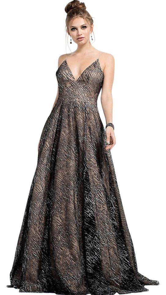 Jovani Nude/Silver Spaghetti Straps V Neck Evening Gown 52170 Long ...