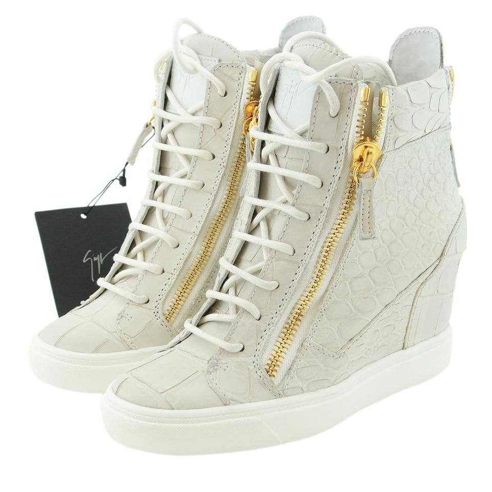 a3d335abc1100 Giuseppe Zanotti White Leather Wedge Sneakers Shipping Upgrade For Order #  1573040b Sneakers