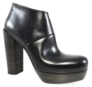 CoSTUME NATIONAL Leather Platform Chunky Black Boots