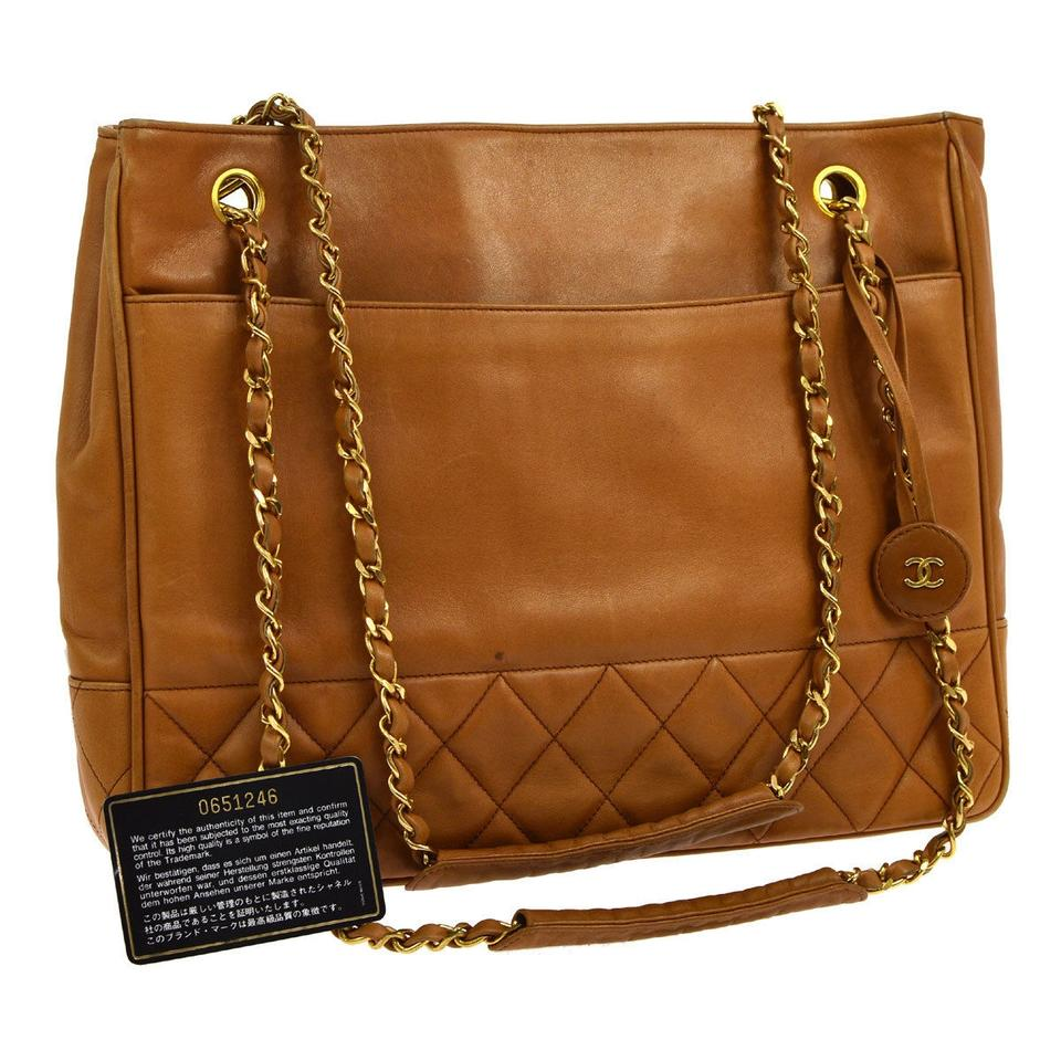 Chanel Quilted Lambskin Large Brown Tote Bag On Tradesy