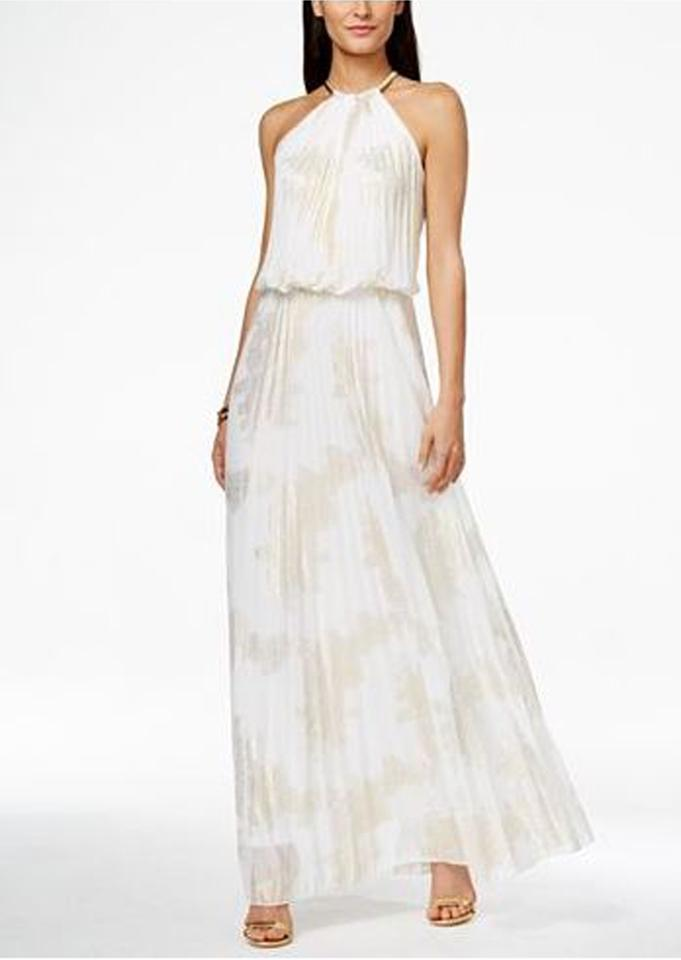MSK White/Gold Metallic-print Pleated Blouson Gown Long Casual Maxi ...