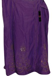 AKS Vintage Embellished Silk Skirt Purple with Gold Trim