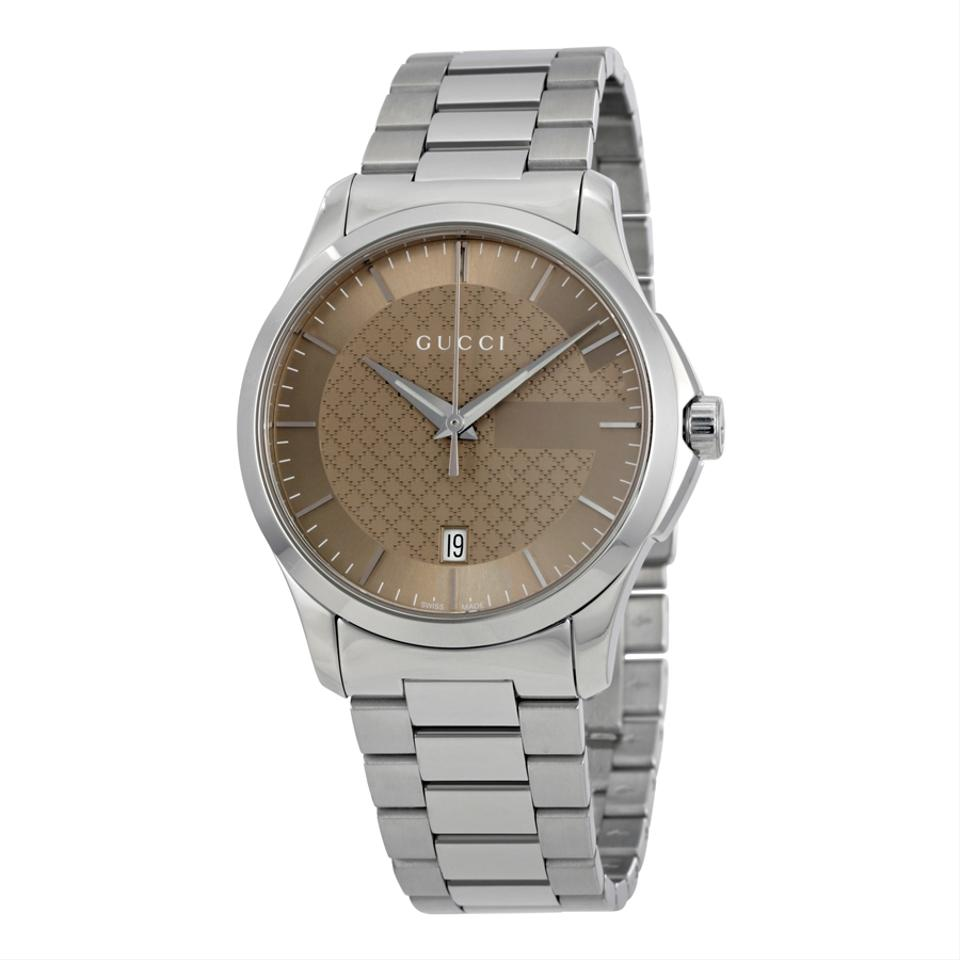 Gucci g timeless brown dial stainless steel unisex watch