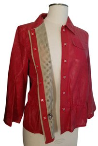 W by Worth Cropped Ready-to-wear Spring Summer Faux Leather red Jacket