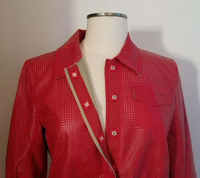 W by Worth Cropped Ready-to-wear Spring Summer Faux Leather red Jacket Image 1