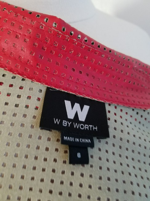 W by Worth Cropped Ready-to-wear Spring Summer Faux Leather red Jacket Image 3