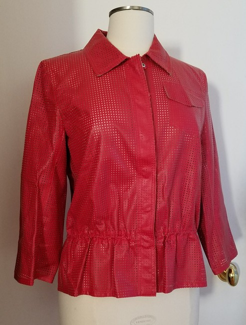 W by Worth Cropped Ready-to-wear Spring Summer Faux Leather red Jacket Image 4
