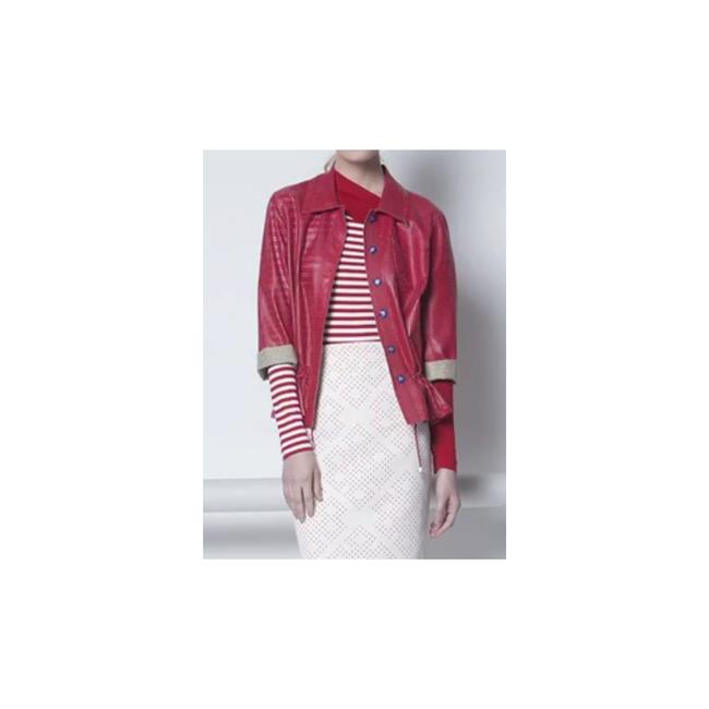 W by Worth Cropped Ready-to-wear Spring Summer Faux Leather red Jacket Image 7