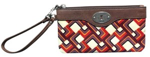 Fossil Wristlet in Red / Purple / Cream / Brown
