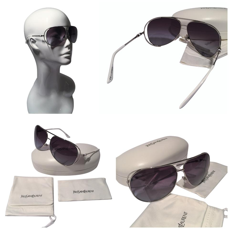3453b60468 Saint Laurent NEW W  Case YSL SUNGLASSES ~ Stunning Silver Aviator Image 0  ...