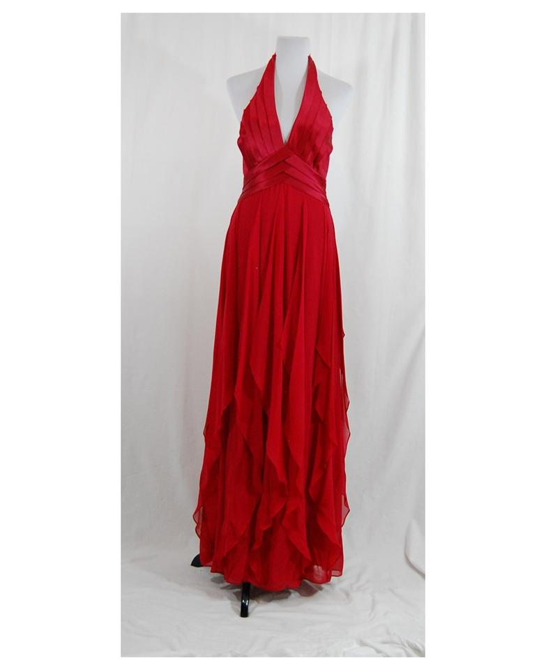 BCBGMAXAZRIA Red Flowy Backless Gown Long Formal Dress Size 6 (S ...