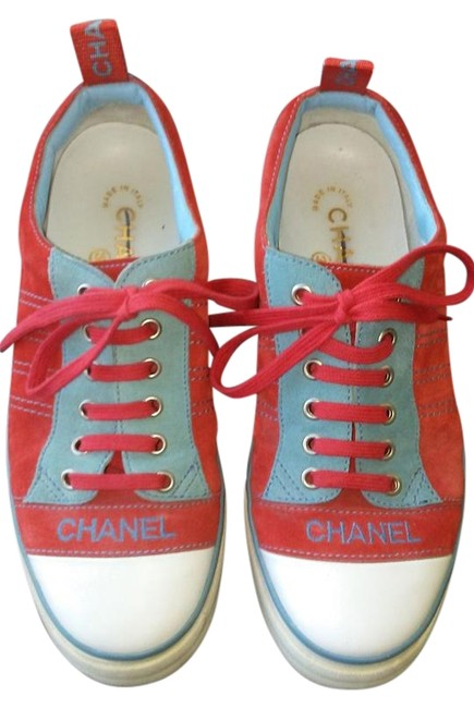 Item - Blue and Red Cc Logo Lace-up Suede Tennis Sneakers Size US 7 Regular (M, B)
