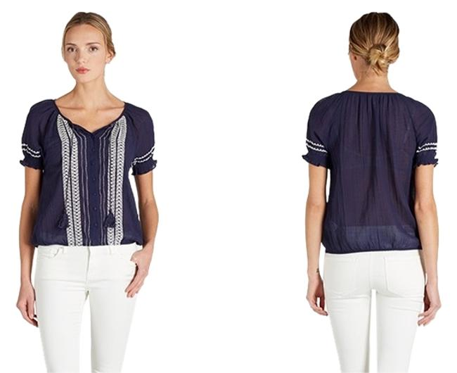 Preload https://item3.tradesy.com/images/joie-blue-navy-dolina-c-embroidered-tie-tassel-blouse-size-0-xs-2219677-0-3.jpg?width=400&height=650