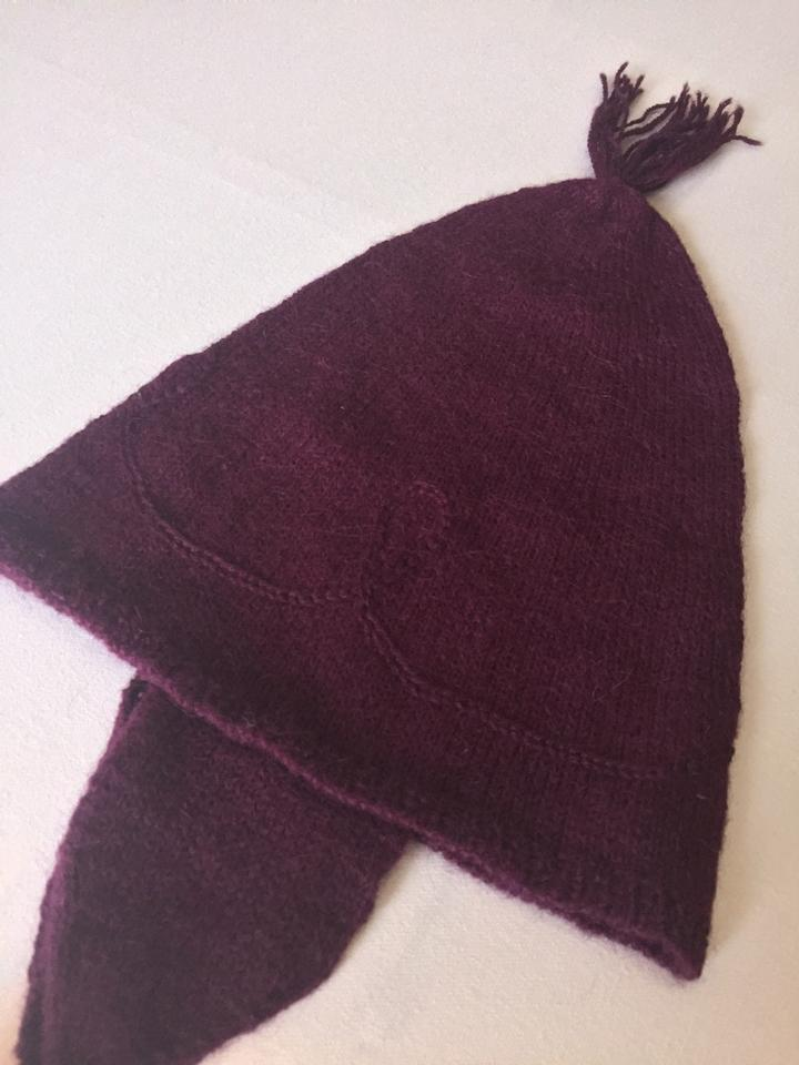 Band New 100% Baby Alpaca Beanie Fun Hat Dark Red on Tradesy
