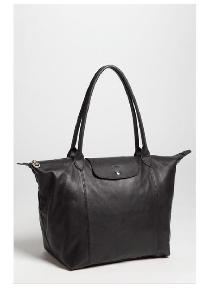 f945bebe2e91 Longchamp Le Pliage Cuir Large Made In France Dustbag Black Lambskin Leather  Tote
