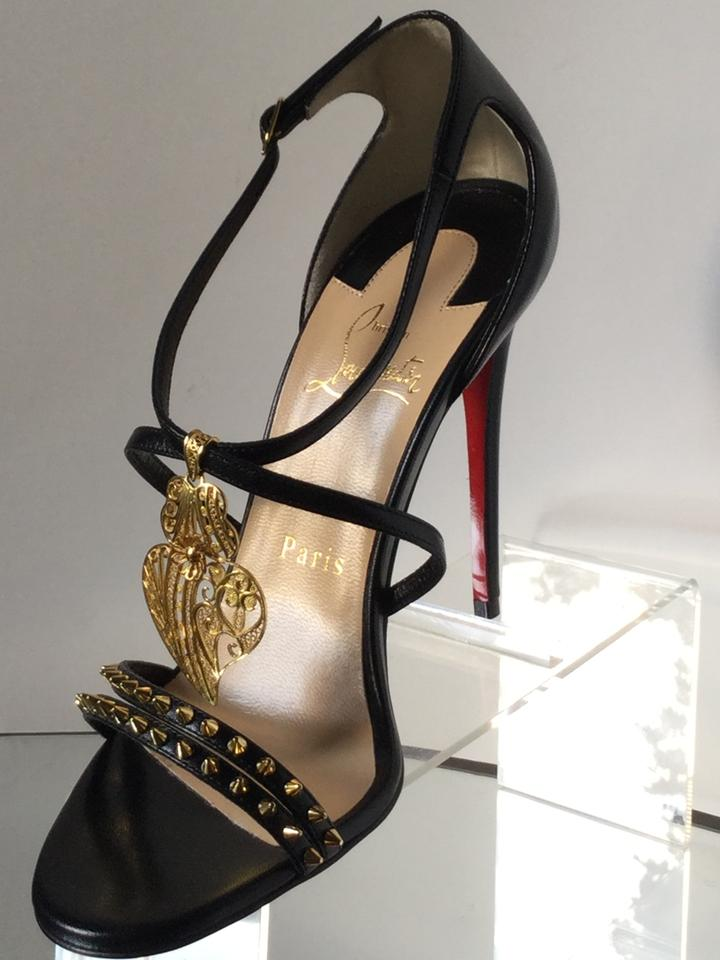 4513e9c6482 Christian Louboutin Black Lace Filigree Heart Strappy Heels 37) Sandals  Size EU 37 (Approx. US 7) Regular (M