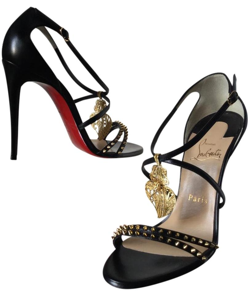 c577f352e041 Christian Louboutin Black Filigree Heart Strappy Heels Sandals Size ...