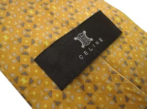 Céline Celine WOVEN gold SILK TIE dark yellow triangle geometric mustard neck