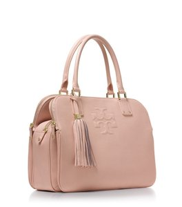 Tory Burch Leather Feminine Stylish Trendy Satchel in Pale Pink