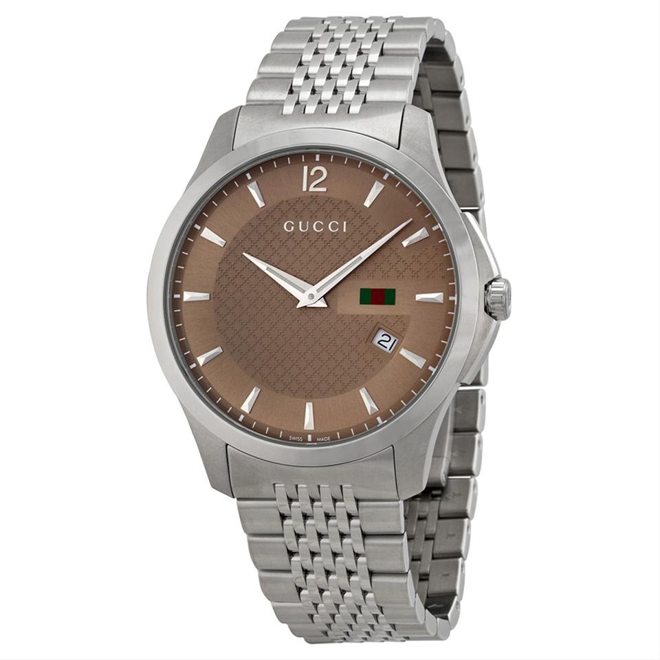 Gucci g timeless brown dial stainless steel mens watch