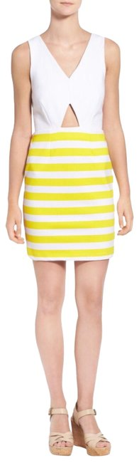 Item - Yellow White Amber Stripe Cutout Body-con Mid-length Short Casual Dress Size 8 (M)