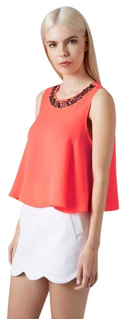 Item - Pink Embellished Neck Swing Shell Tank Top/Cami Size 8 (M)
