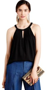 Sunday in Brooklyn Anthropologie Pintucked Halter Button Silky Top Black