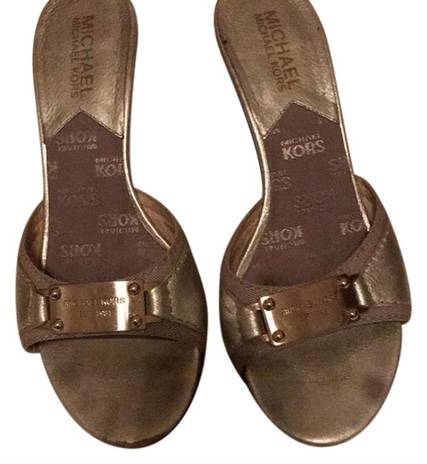 Item - Gold Mules/Slides Size US 5.5 Regular (M, B)