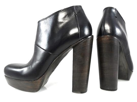 bf6ed2fb39a5 CoSTUME NATIONAL Black Leather Ankle Platform Chunky Heels 9 Boots ...