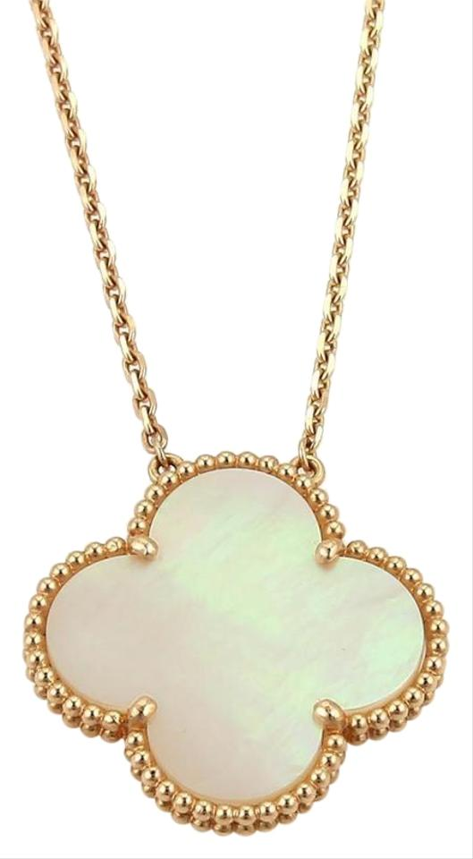 Van cleef arpels rose gold mother of pearl alhambra 18k large van cleef arpels alhambra 18k rose gold mother of pearl large pendant chain aloadofball Image collections