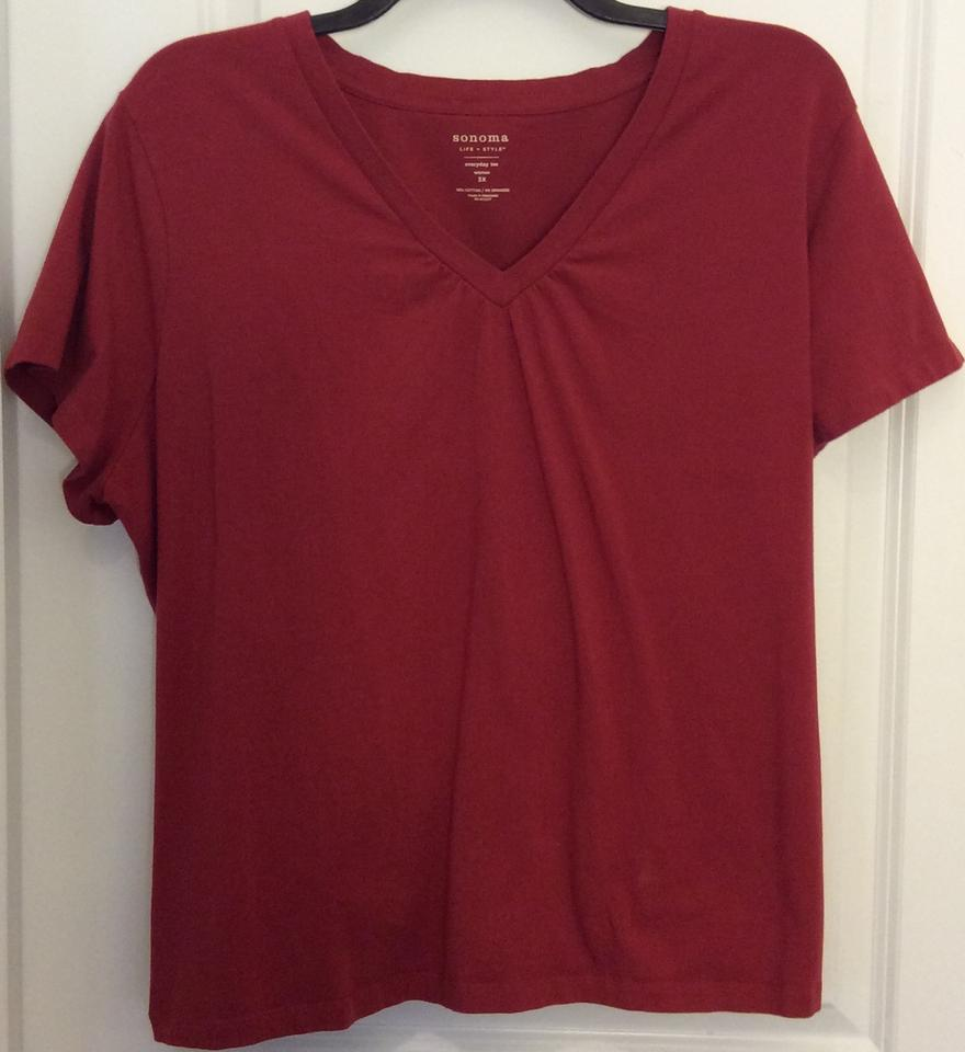 d3599fef81a Sonoma Red V-neck Comfortable 3x Lifestyle Everyday Tee Shirt Size ...