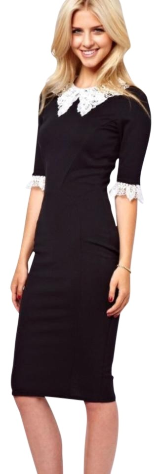 3f4d432808 ASOS Black White Lace Collar Sheath Mid-length Work Office Dress ...