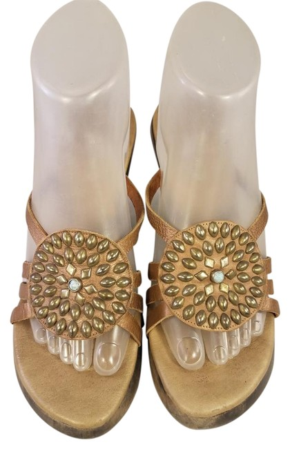 Item - Gold Slides M Leather Color with Jeweled Studs Sandals Size US 7 Regular (M, B)