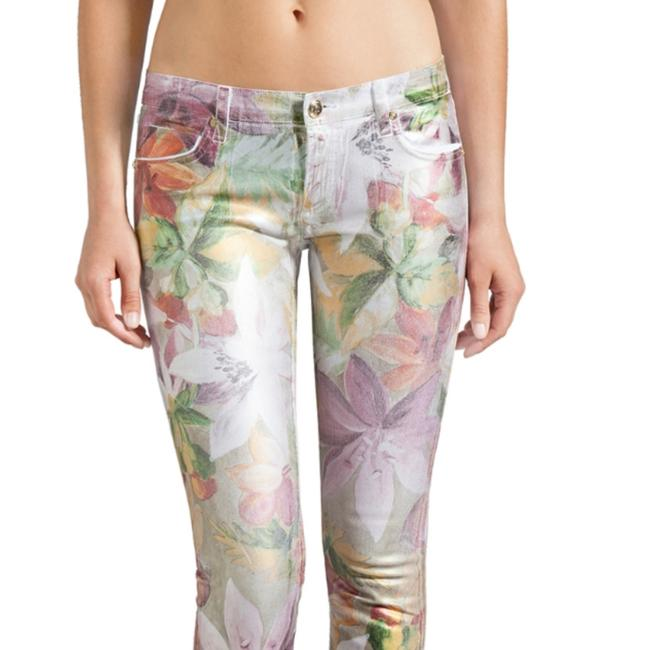 Item - A Special Dye Was Used In The Creation Of This Garment. Coated Tropical Floral Foil Straight Crop Skinny Jeans Size 26 (2, XS)